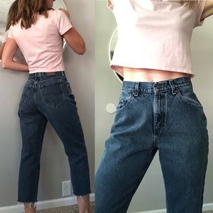 Vintage gray frayed hem Lee mom jeans